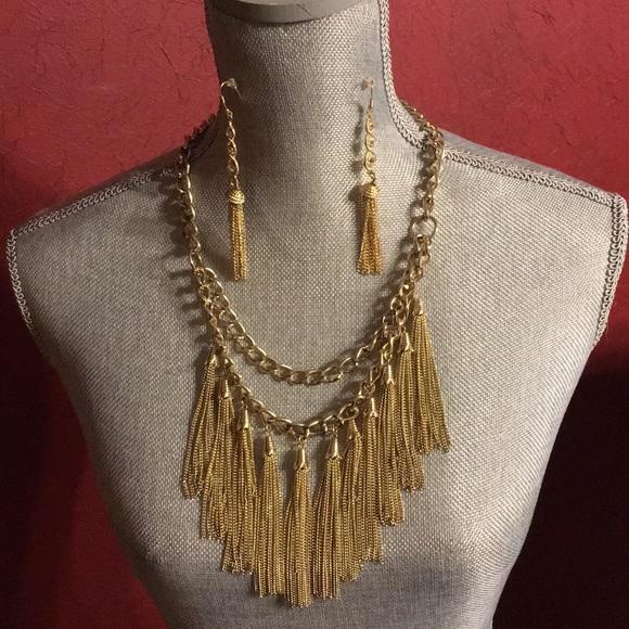c78adbad6 MNG Mango Jewelry | Gold Necklace Earring Set | Poshmark